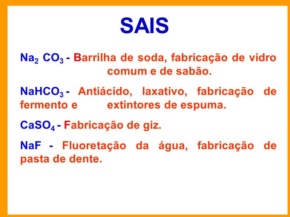SAIS Na 2 CO 3 - Barrilha de soda, fabricação de vidro comum e de sabão.