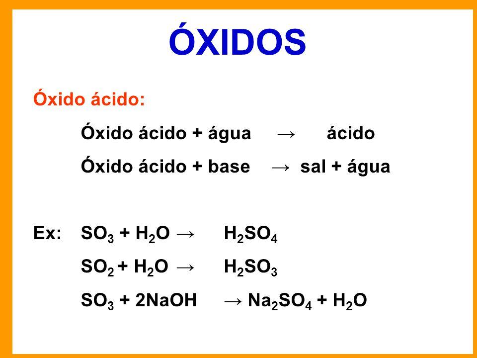 ÓXIDOS Óxido ácido: Óxido ácido + água → ácido Óxido ácido + base→ sal + água Ex:SO 3 + H 2 O→H 2 SO 4 SO 2 + H 2 O→H 2 SO 3 SO 3 + 2NaOH→ Na 2 SO 4 + H 2 O