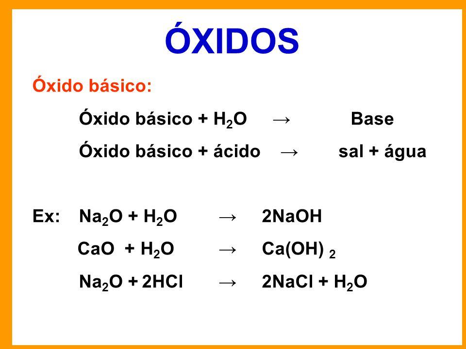 ÓXIDOS Óxido básico: Óxido básico + H 2 O → Base Óxido básico + ácido → sal + água Ex: Na 2 O + H 2 O → 2NaOH CaO + H 2 O → Ca(OH) 2 Na 2 O + 2HCl→ 2NaCl + H 2 O