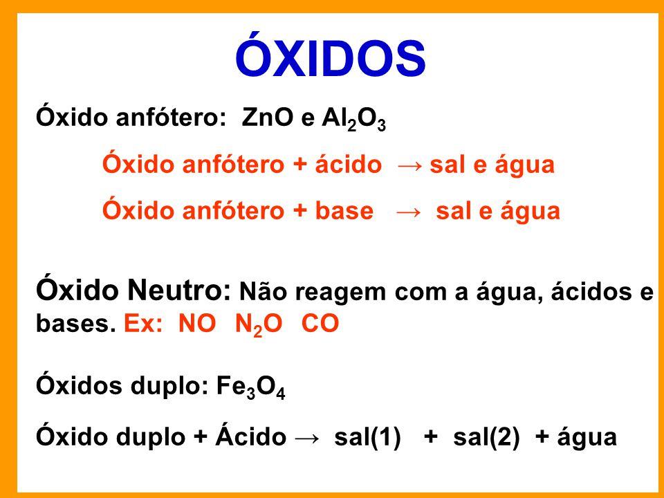ÓXIDOS Óxido anfótero: ZnO e Al 2 O 3 Óxido anfótero + ácido → sal e água Óxido anfótero + base → sal e água Óxido Neutro: Não reagem com a água, ácidos e bases.