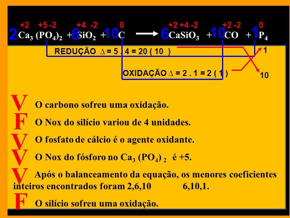 Ca 3 (PO 4 ) 2 + SiO 2 + C CaSiO 3 + CO + P 4 O carbono sofreu uma oxidação.