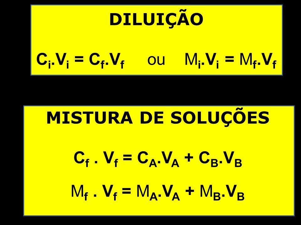 DILUIÇÃO C i.V i = C f.V f ou M i.V i = M f.V f MISTURA DE SOLUÇÕES C f.