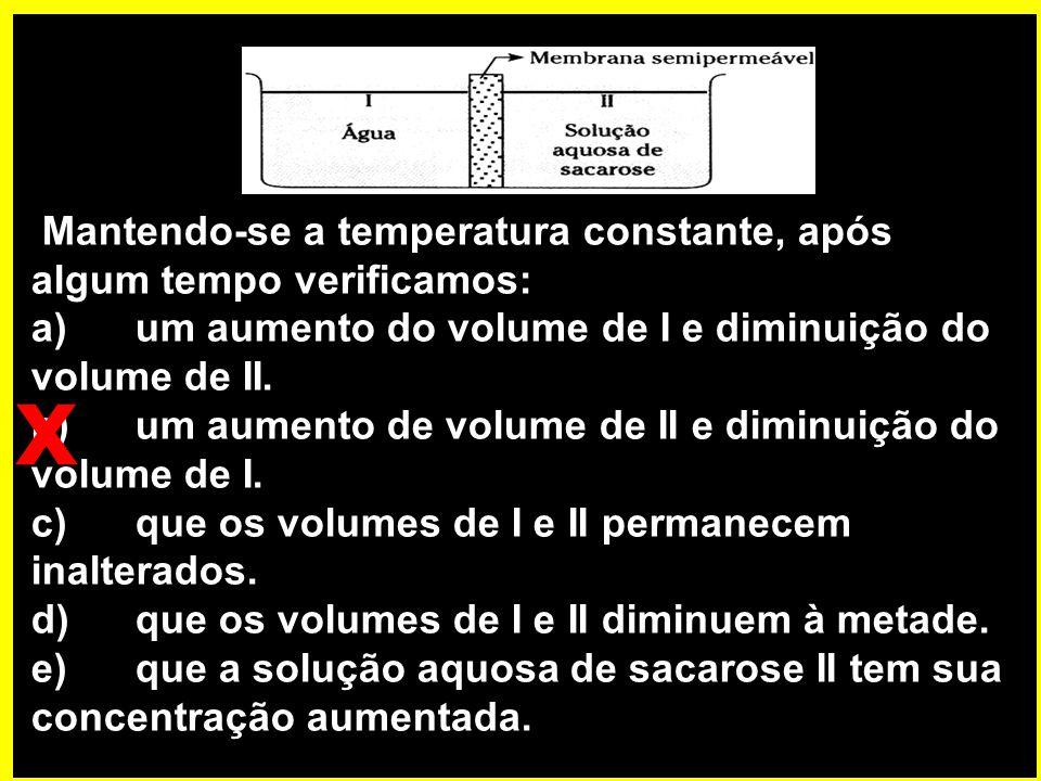 Mantendo-se a temperatura constante, após algum tempo verificamos: a)um aumento do volume de I e diminuição do volume de II.