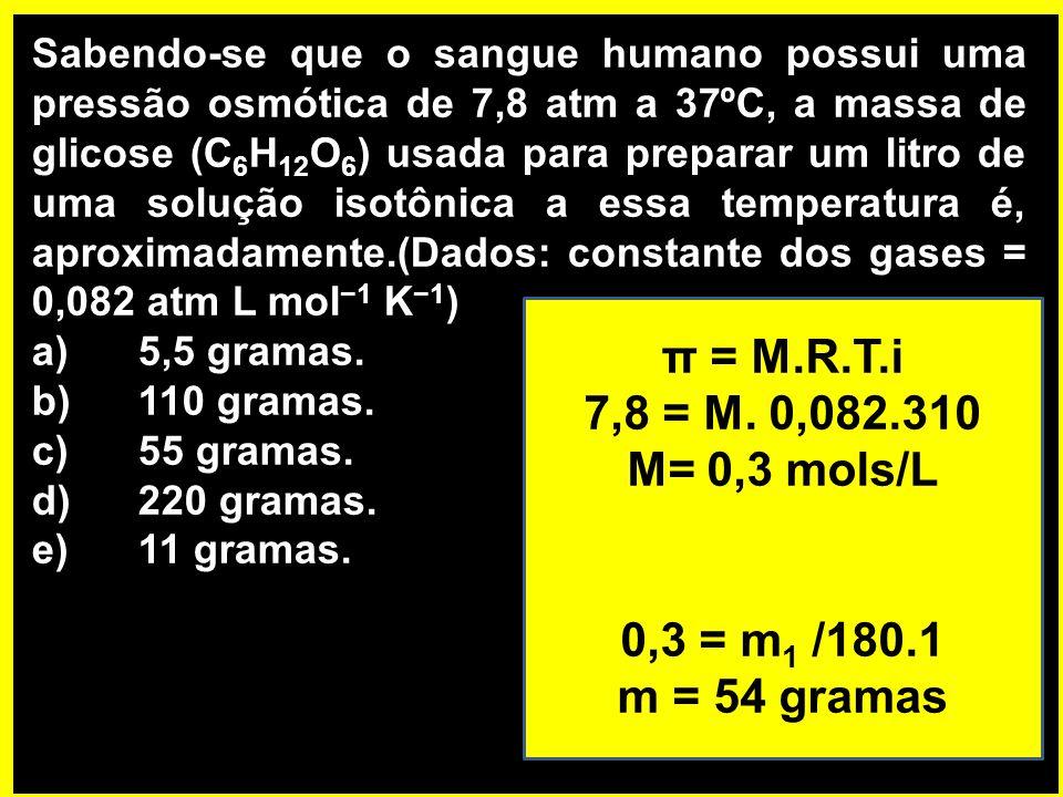 Sabendo-se que o sangue humano possui uma pressão osmótica de 7,8 atm a 37ºC, a massa de glicose (C 6 H 12 O 6 ) usada para preparar um litro de uma solução isotônica a essa temperatura é, aproximadamente.(Dados: constante dos gases = 0,082 atm L mol −1 K −1 ) a)5,5 gramas.