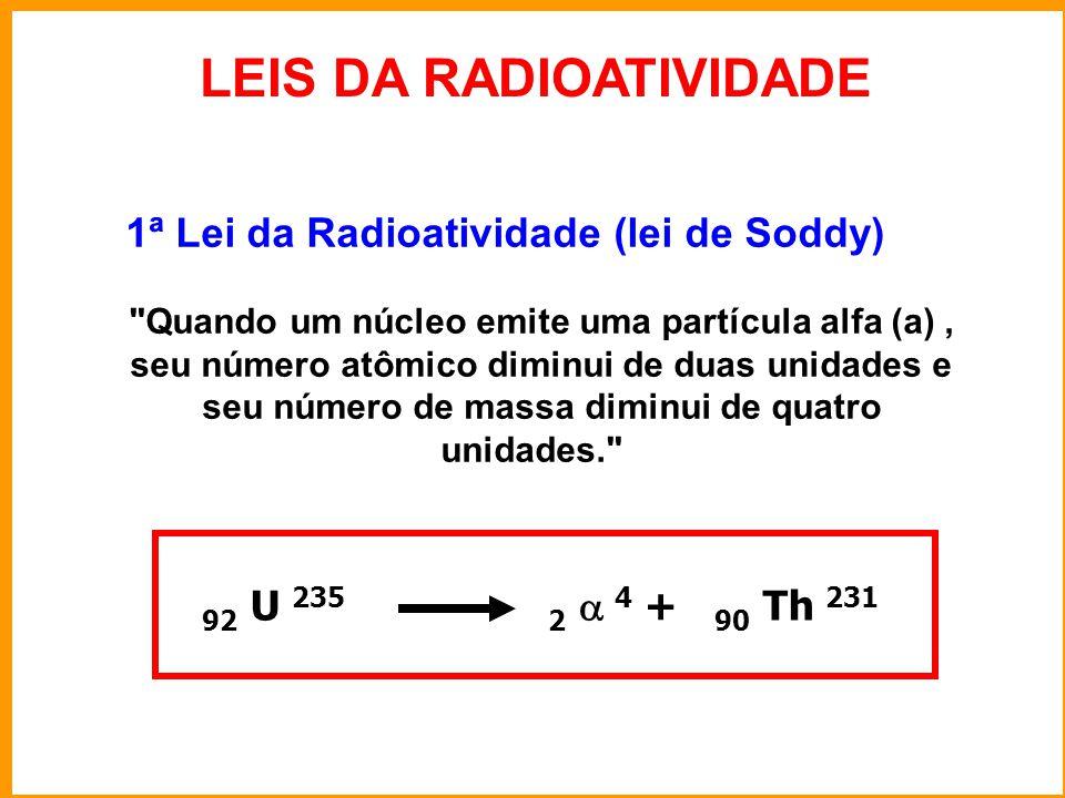 LEIS DA RADIOATIVIDADE 1ª Lei da Radioatividade (lei de Soddy) Quando um núcleo emite uma partícula alfa (a), seu número atômico diminui de duas unidades e seu número de massa diminui de quatro unidades. 92 U 235 2  4 + 90 Th 231