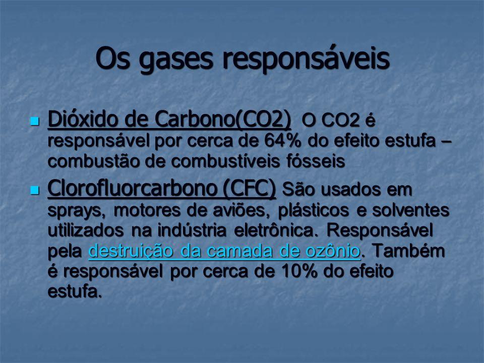 Os gases responsáveis Dióxido de Carbono(CO2) O CO2 é responsável por cerca de 64% do efeito estufa – combustão de combustíveis fósseis Dióxido de Car