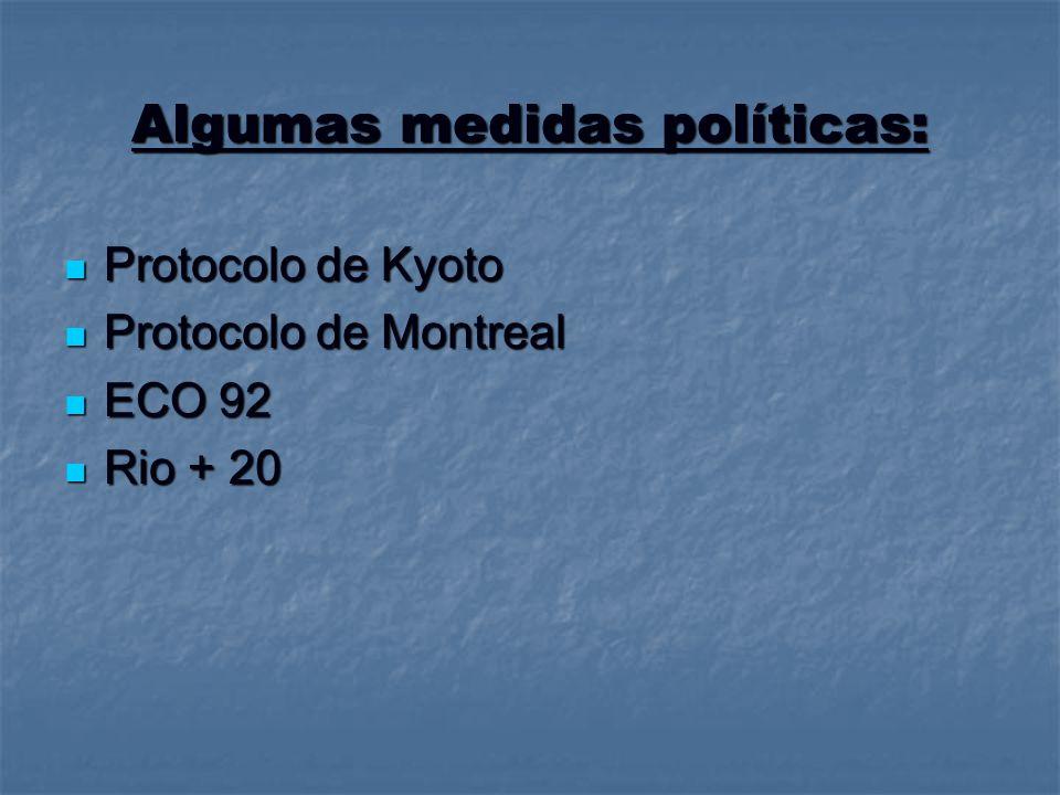 Algumas medidas políticas: Protocolo de Kyoto Protocolo de Kyoto Protocolo de Montreal Protocolo de Montreal ECO 92 ECO 92 Rio + 20 Rio + 20