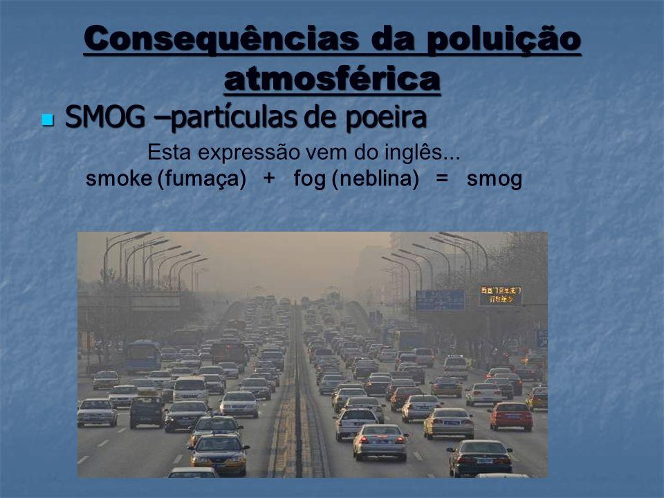 Consequências da poluição atmosférica SMOG –partículas de poeira SMOG –partículas de poeira Esta expressão vem do inglês... smoke (fumaça) + fog (nebl