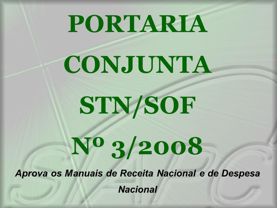 PORTARIA CONJUNTA STN/SOF Nº 3/2008 Aprova os Manuais de Receita Nacional e de Despesa Nacional