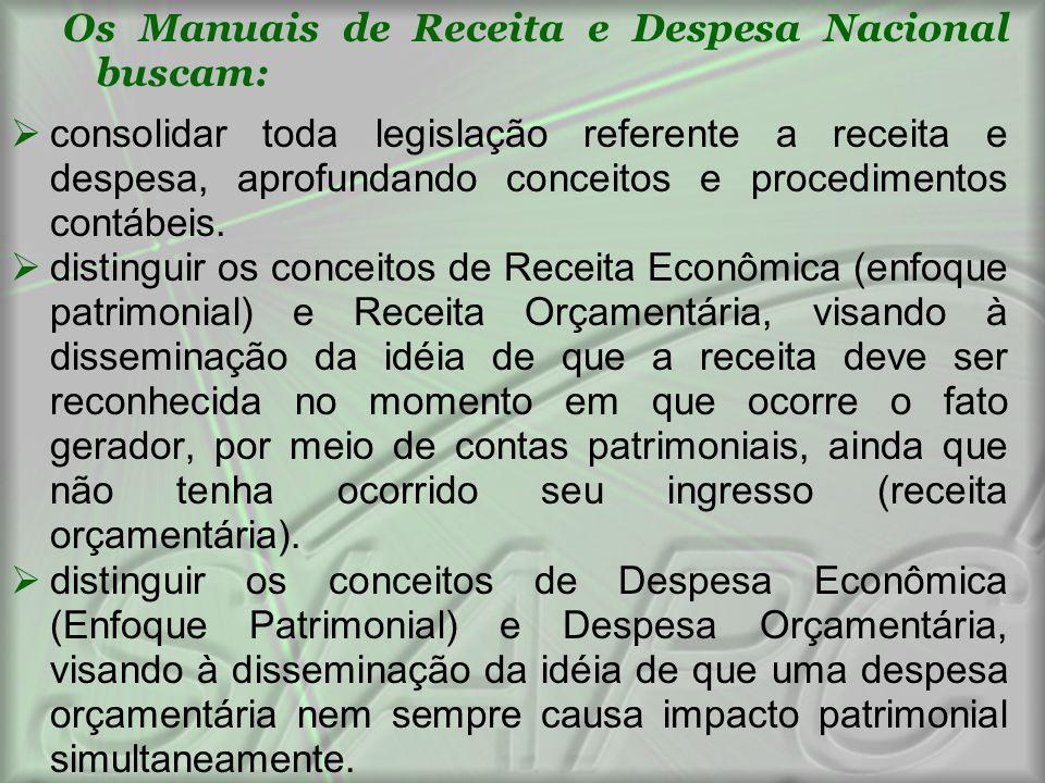 Os Manuais de Receita e Despesa Nacional buscam:  consolidar toda legislação referente a receita e despesa, aprofundando conceitos e procedimentos co