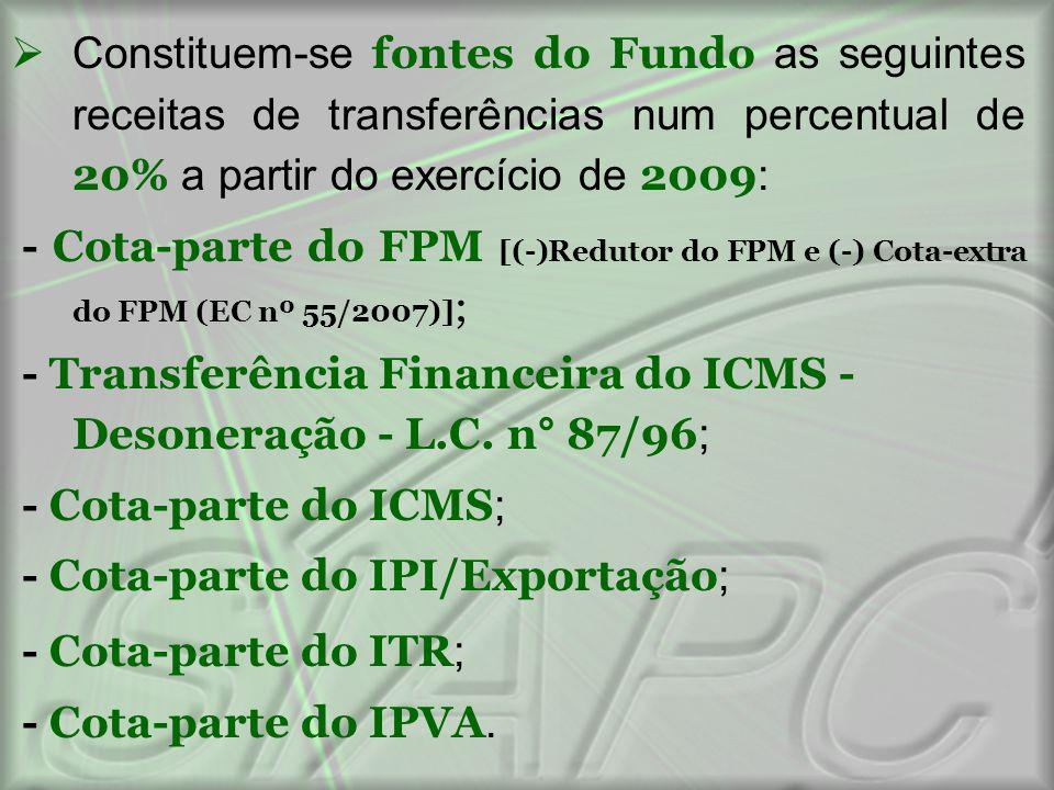  Constituem-se fontes do Fundo as seguintes receitas de transferências num percentual de 20% a partir do exercício de 2009 : - Cota-parte do FPM [(-)