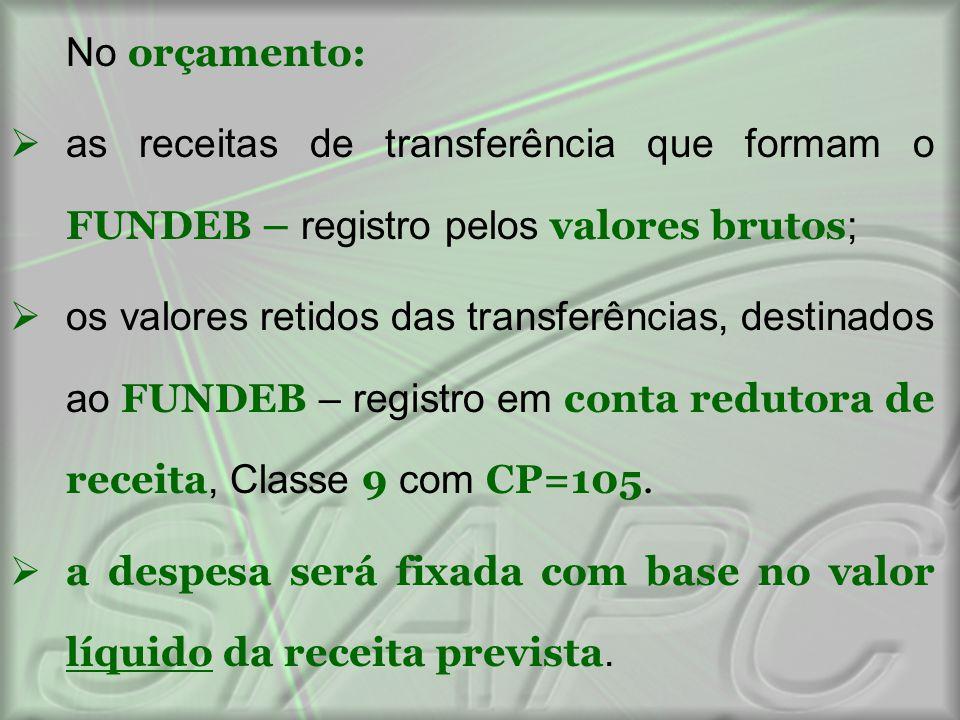 No orçamento:  as receitas de transferência que formam o FUNDEB – registro pelos valores brutos ;  os valores retidos das transferências, destinados