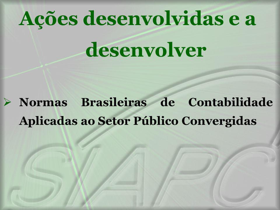Ações desenvolvidas e a desenvolver  Normas Brasileiras de Contabilidade Aplicadas ao Setor Público Convergidas