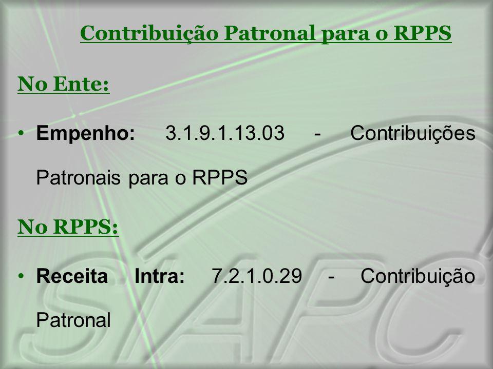 Contribuição Patronal para o RPPS No Ente: Empenho: 3.1.9.1.13.03 - Contribuições Patronais para o RPPS No RPPS: Receita Intra: 7.2.1.0.29 - Contribui