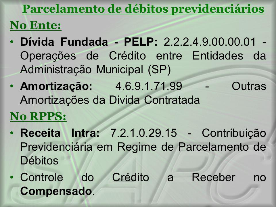Parcelamento de débitos previdenciários No Ente: Dívida Fundada - PELP: 2.2.2.4.9.00.00.01 - Operações de Crédito entre Entidades da Administração Mun