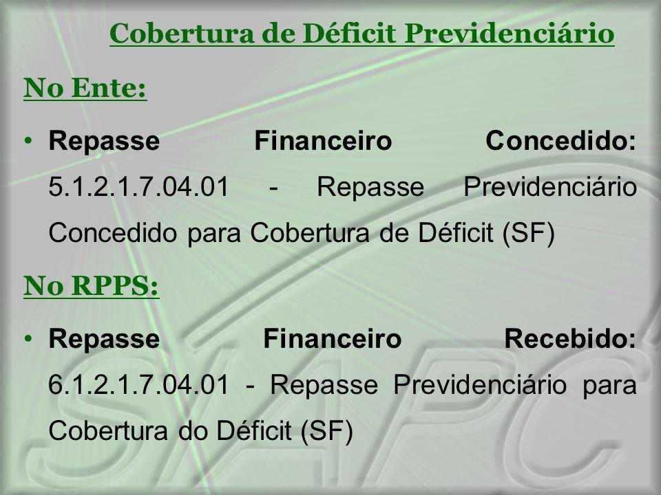 Cobertura de Déficit Previdenciário No Ente: Repasse Financeiro Concedido: 5.1.2.1.7.04.01 - Repasse Previdenciário Concedido para Cobertura de Défici