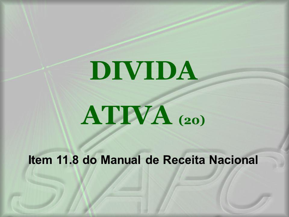 DIVIDA ATIVA (20) Item 11.8 do Manual de Receita Nacional