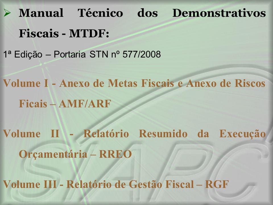  Manual Técnico dos Demonstrativos Fiscais - MTDF: 1ª Edição – Portaria STN nº 577/2008 Volume I - Anexo de Metas Fiscais e Anexo de Riscos Ficais –