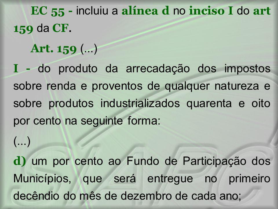 EC 55 - incluiu a alínea d no inciso I do art 159 da CF. Art. 159 (...) I - do produto da arrecadação dos impostos sobre renda e proventos de qualquer