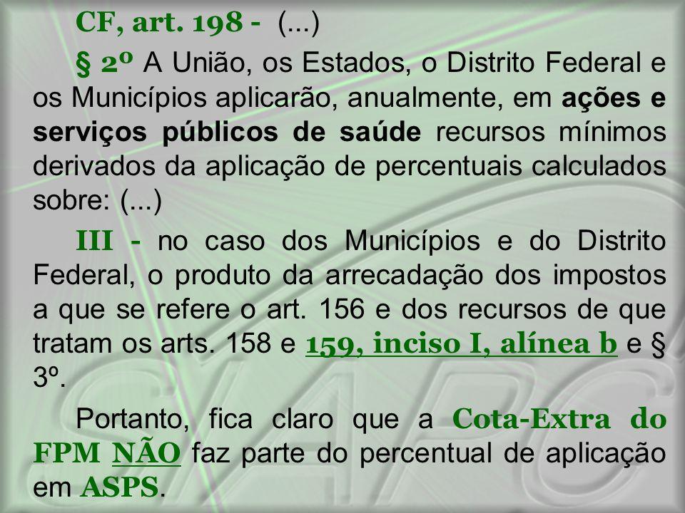 CF, art. 198 - (...) § 2º A União, os Estados, o Distrito Federal e os Municípios aplicarão, anualmente, em ações e serviços públicos de saúde recurso