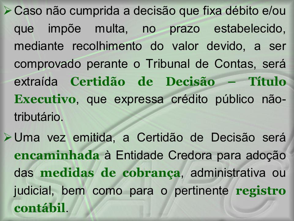  Caso não cumprida a decisão que fixa débito e/ou que impõe multa, no prazo estabelecido, mediante recolhimento do valor devido, a ser comprovado per