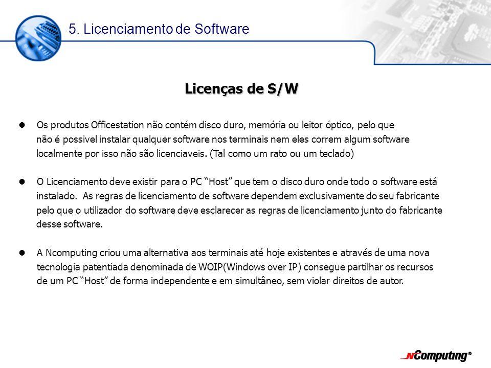 Licenças de S/W Os produtos Officestation não contém disco duro, memória ou leitor óptico, pelo que não é possivel instalar qualquer software nos terminais nem eles correm algum software localmente por isso não são licenciaveis.