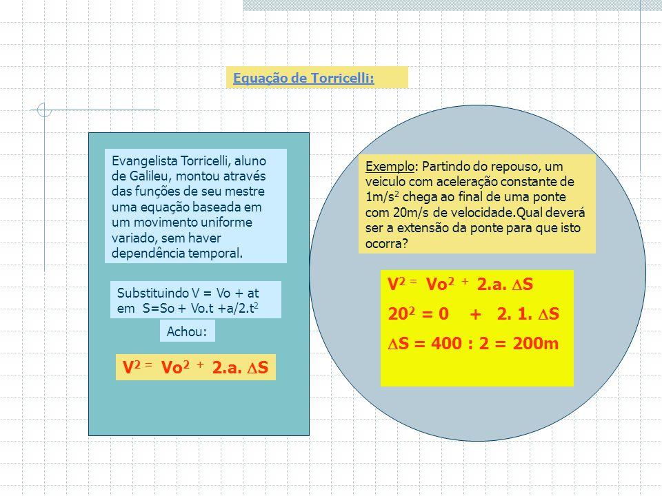 Exemplo: Um móvel percorre um trajeto de acordo com a função S= 8t + 2t 2 em S.I. a) Qual a posição inicial, velocidade inicial e aceleração de acordo