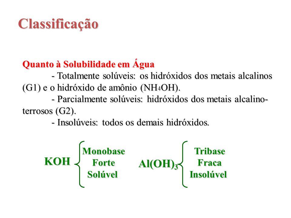 Classificação Quanto à Solubilidade em Água - Totalmente solúveis: os hidróxidos dos metais alcalinos (G1) e o hidróxido de amônio (NH 4 OH). - Parcia