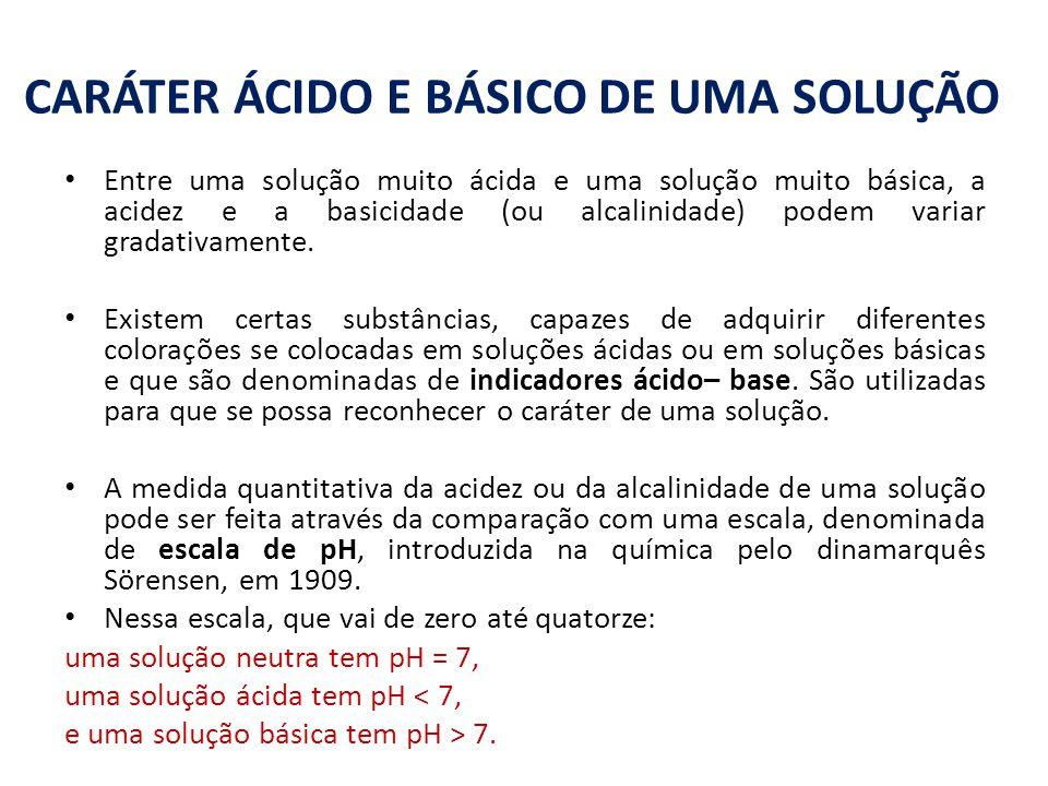CARÁTER ÁCIDO E BÁSICO DE UMA SOLUÇÃO Entre uma solução muito ácida e uma solução muito básica, a acidez e a basicidade (ou alcalinidade) podem variar