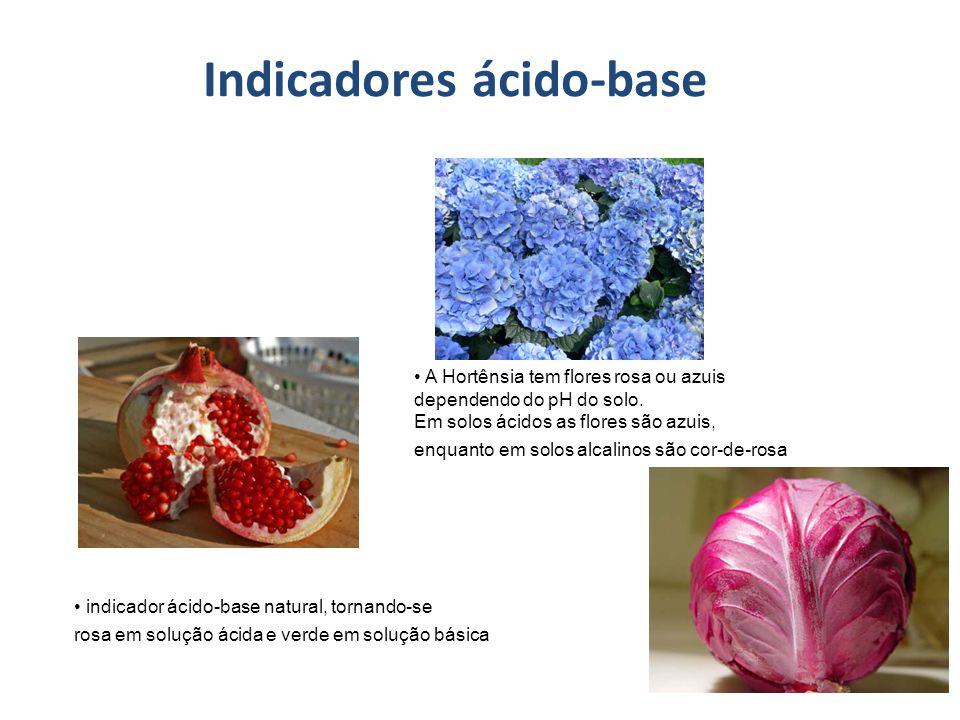 Indicadores ácido-base indicador ácido-base natural, tornando-se rosa em solução ácida e verde em solução básica A Hortênsia tem flores rosa ou azuis