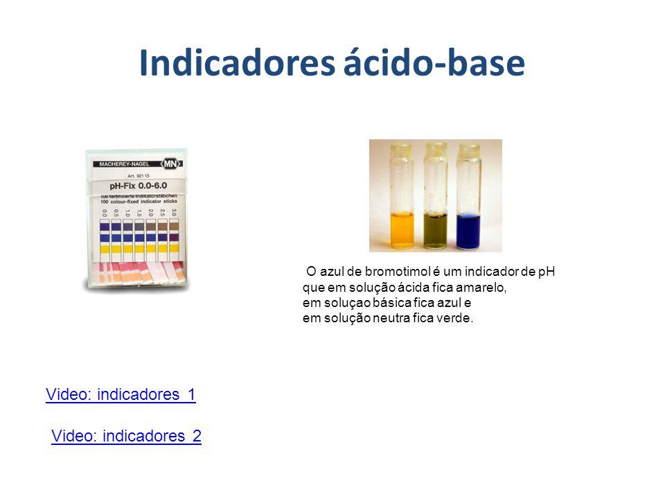 Indicadores ácido-base Video: indicadores 1 Video: indicadores 2 O azul de bromotimol é um indicador de pH que em solução ácida fica amarelo, em soluç