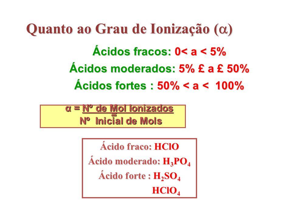 Quanto ao Grau de Ionização (  ) Ácidos fracos: 0< a < 5% Ácidos moderados: 5% £ a £ 50% Ácidos fortes : 50% < a < 100% α = Nº de Mol Ionizados α = N