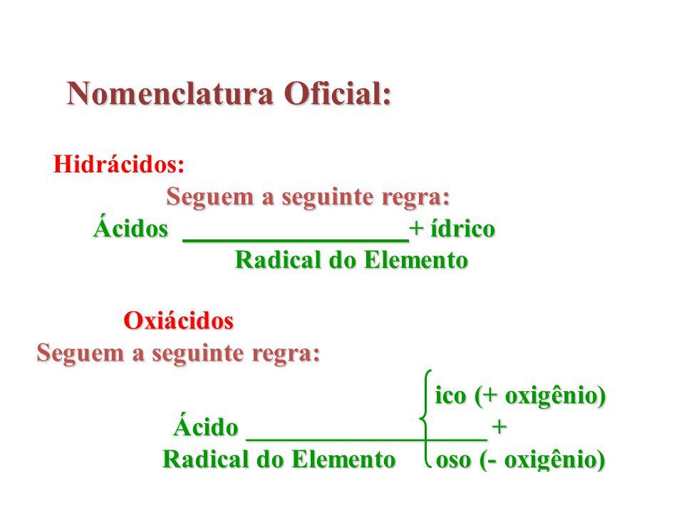 Nomenclatura Oficial: Hidrácidos: Seguem a seguinte regra: Ácidos + ídrico Radical do Elemento Radical do Elemento Oxiácidos Seguem a seguinte regra: