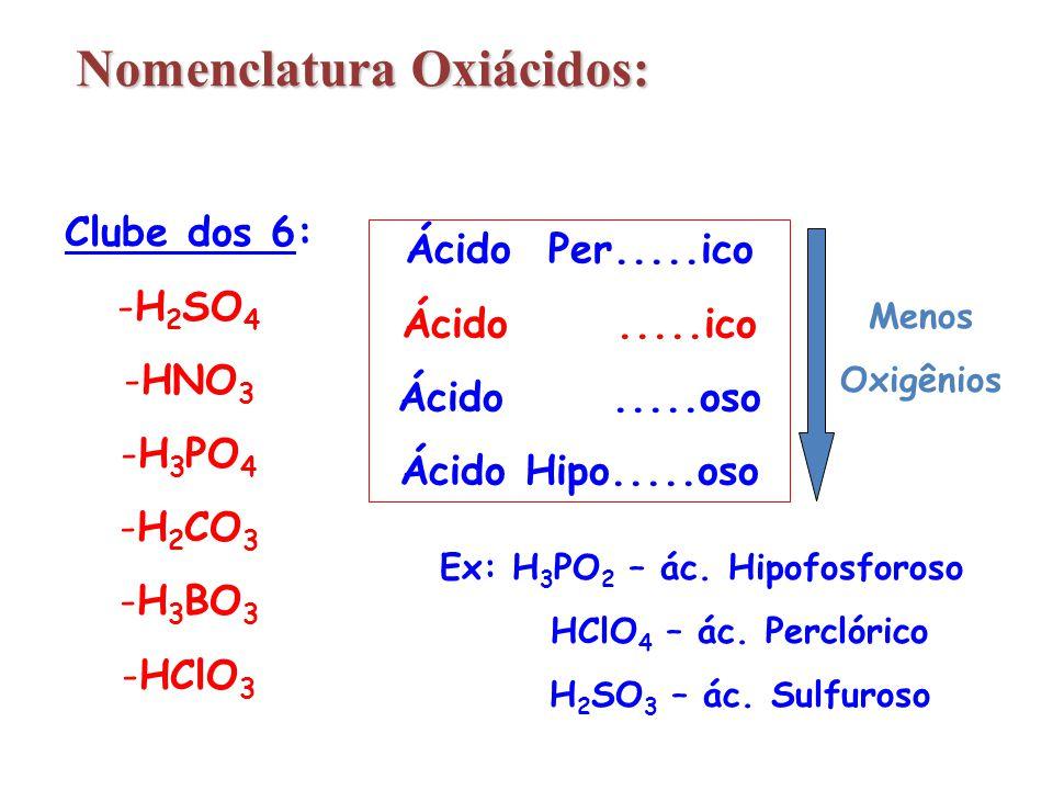 Clube dos 6: -H 2 SO 4 -HNO 3 -H 3 PO 4 -H 2 CO 3 -H 3 BO 3 -HClO 3 Ácido Per.....ico Ácido.....ico Ácido.....oso Ácido Hipo.....oso Menos Oxigênios E