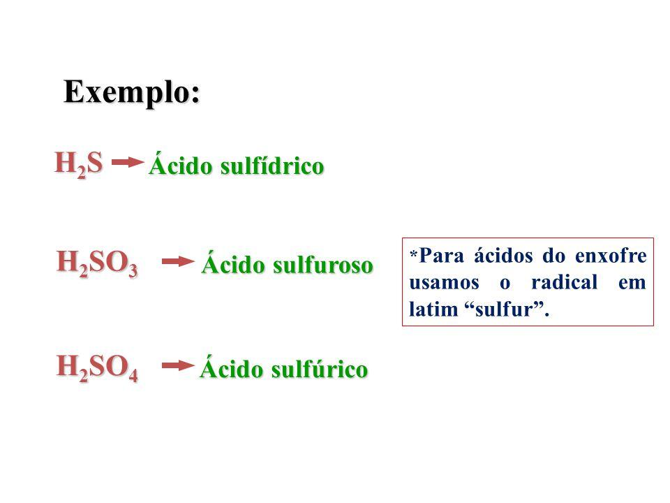 """Exemplo: H2SH2SH2SH2S Ácido sulfídrico H 2 SO 3 Ácido sulfuroso H 2 SO 4 Ácido sulfúrico * Para ácidos do enxofre usamos o radical em latim """"sulfur""""."""