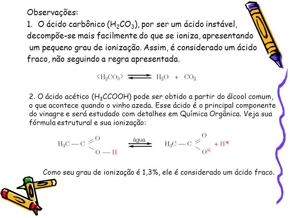 Observações: 1.O ácido carbônico (H 2 CO 3 ), por ser um ácido instável, decompõe-se mais facilmente do que se ioniza, apresentando um pequeno grau de ionização.