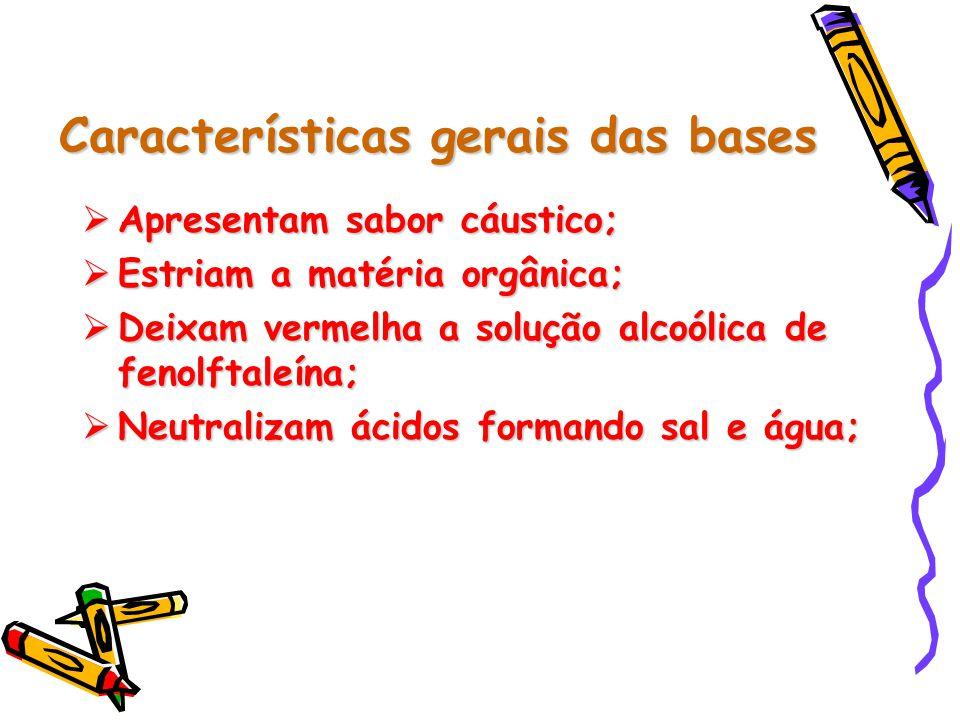Características gerais das bases  Apresentam sabor cáustico;  Estriam a matéria orgânica;  Deixam vermelha a solução alcoólica de fenolftaleína;  Neutralizam ácidos formando sal e água;