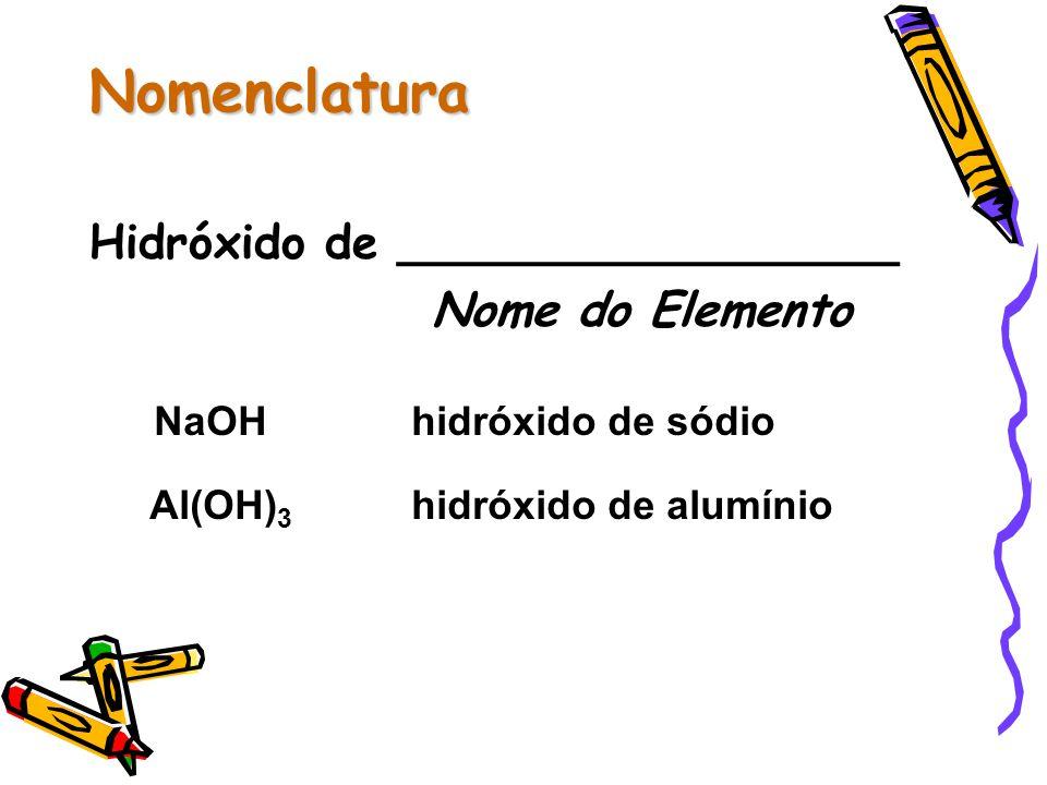Nomenclatura Hidróxido de _________________ Nome do Elemento NaOHhidróxido de sódio Al(OH) 3 hidróxido de alumínio