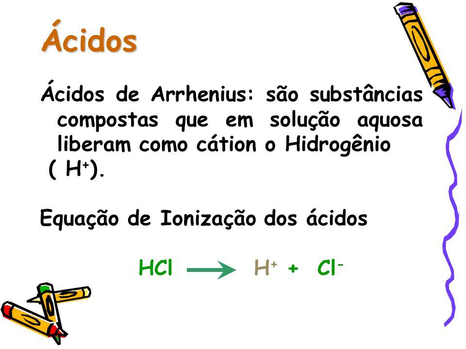 Ácidos Ácidos de Arrhenius: são substâncias compostas que em solução aquosa liberam como cátion o Hidrogênio ( H + ).