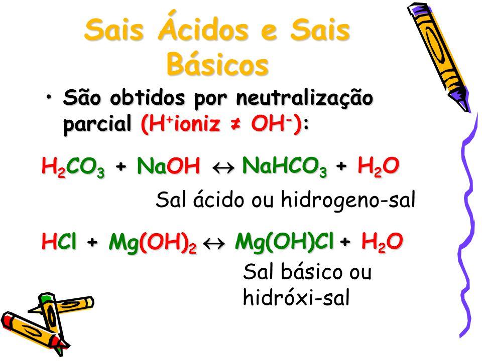 Sais Ácidos e Sais Básicos São obtidos por neutralização parcial (H + ioniz ≠ OH - ):São obtidos por neutralização parcial (H + ioniz ≠ OH - ): H 2 CO 3 + NaOH  NaHCO 3 + H 2 O + H 2 O Sal ácido ou hidrogeno-sal HCl + Mg(OH) 2  Mg(OH)Cl + H 2 O + H 2 O Sal básico ou hidróxi-sal