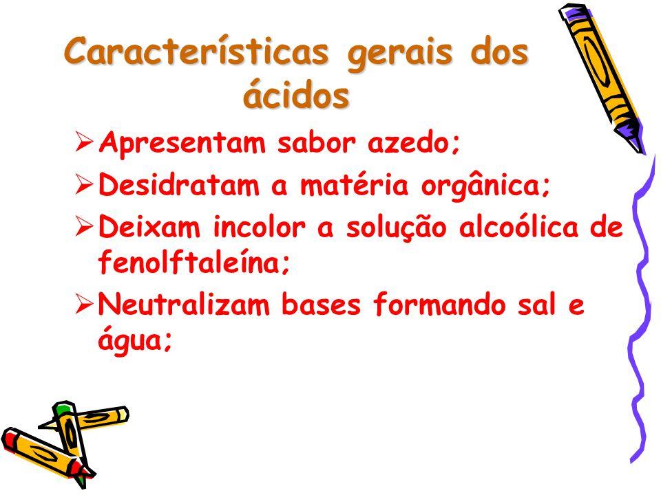 Características gerais dos ácidos  Apresentam sabor azedo;  Desidratam a matéria orgânica;  Deixam incolor a solução alcoólica de fenolftaleína;  Neutralizam bases formando sal e água;