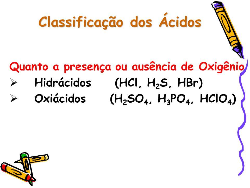 Nomenclatura Oficial Hidrácidos Seguem a seguinte regra: Ácido + ídrico Radical do Elemento Oxiácidos Seguem a seguinte regra: ico (+ oxigênio) ico (+ oxigênio) Ácido _____________ + Ácido _____________ + Radical do Elemento oso (- oxigênio) Radical do Elemento oso (- oxigênio)