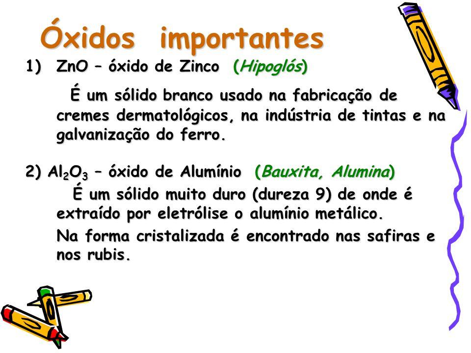 Óxidos importantes 1)ZnO – óxido de Zinco (Hipoglós) É um sólido branco usado na fabricação de cremes dermatológicos, na indústria de tintas e na galvanização do ferro.