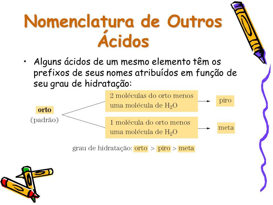 Nomenclatura de Outros Ácidos Alguns ácidos de um mesmo elemento têm os prefixos de seus nomes atribuídos em função de seu grau de hidratação: