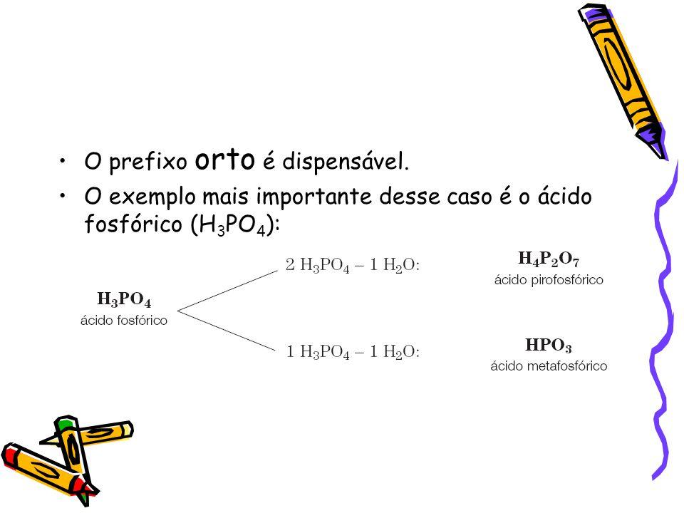 Fórmula estrutural dos oxiácidos 1)escrever o elemento central; 2)ligar o elemento central a tantos grupos – OH quantos forem os hidrogênios ionizáveis; 3)ligar o elemento central aos oxigênios restantes através de uma dupla ligação ou por ligação dativa Exemplos