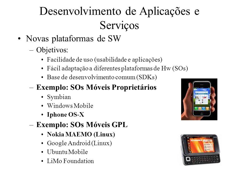Desenvolvimento de Aplicações e Serviços Novas plataformas de SW –Objetivos: Facilidade de uso (usabilidade e aplicações) Fácil adaptação a diferentes plataformas de Hw (SOs) Base de desenvolvimento comum (SDKs) –Exemplo: SOs Móveis Proprietários Symbian Windows Mobile Iphone OS-X –Exemplo: SOs Móveis GPL Nokia MAEMO (Linux) Google Android (Linux) Ubuntu Mobile LiMo Foundation