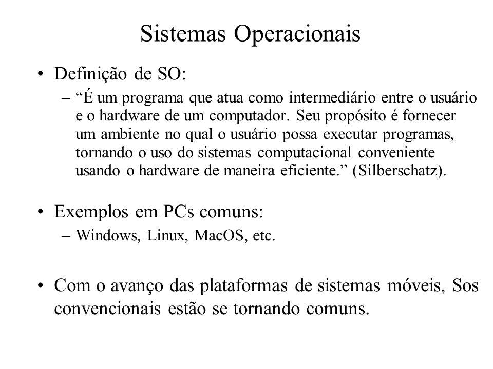 """Sistemas Operacionais Definição de SO: –""""É um programa que atua como intermediário entre o usuário e o hardware de um computador. Seu propósito é forn"""