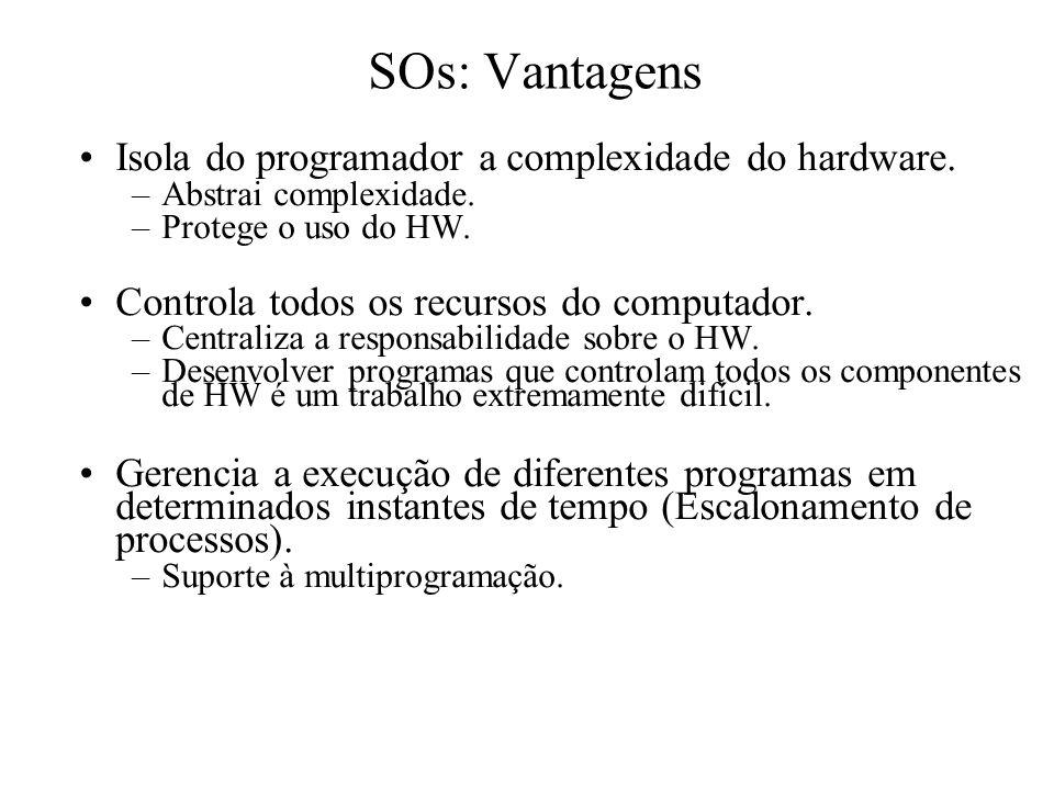 SOs: Vantagens Isola do programador a complexidade do hardware. –Abstrai complexidade. –Protege o uso do HW. Controla todos os recursos do computador.
