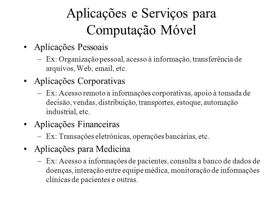 Aplicações e Serviços para Computação Móvel Aplicações Pessoais –Ex: Organização pessoal, acesso à informação, transferência de arquivos, Web, email,