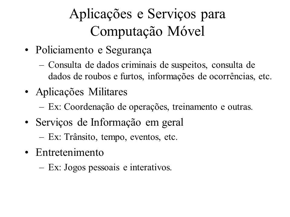 Aplicações e Serviços para Computação Móvel Policiamento e Segurança –Consulta de dados criminais de suspeitos, consulta de dados de roubos e furtos, informações de ocorrências, etc.